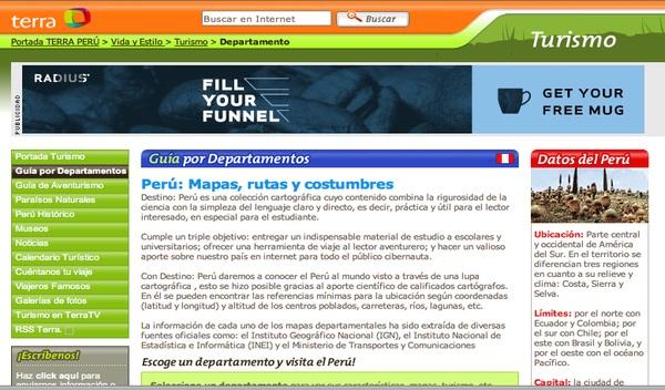 website terra peru tourism home page