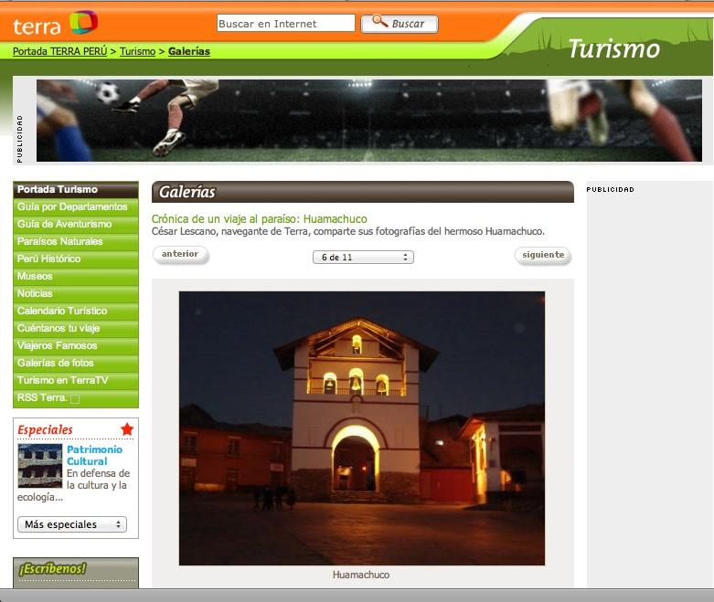 A user shares its travel story and photos Terra Peru Tourism site